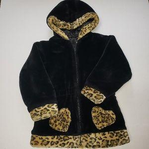 Reversible Warm Winter Jacket For Girls W/Faux Fur